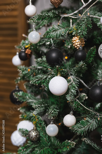 Christmas Decoration In Gold Black And White Colors Black