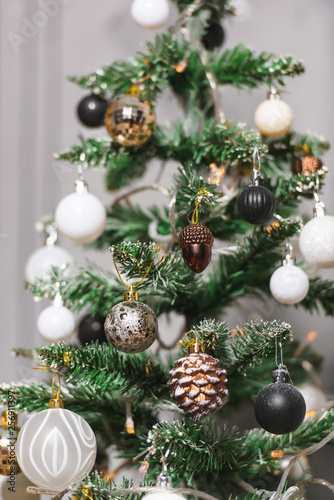 Christmas Decoration In Gold Black And White Colors Black And
