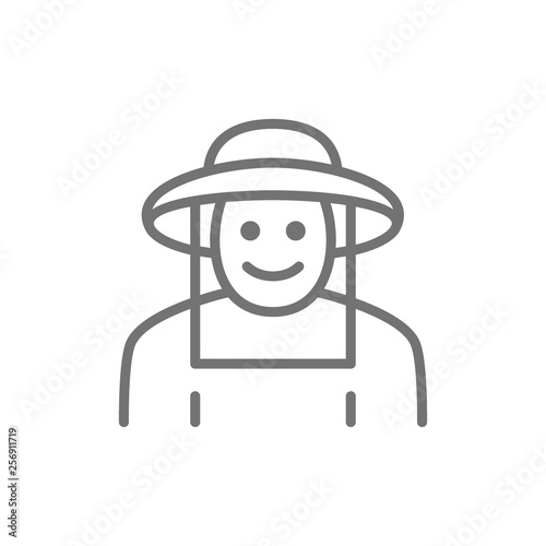Beekeeper in protective clothing line icon. Isolated on white background Fototapete
