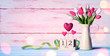 canvas print picture - Mothers Day Greeting Card - Tulips And Calendar On Shabby Table