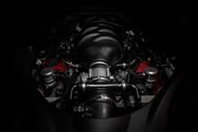 Powerful V8 Motor Of Fast Italian Car