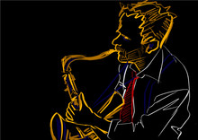 Saxophone Player. Colorful Lin...