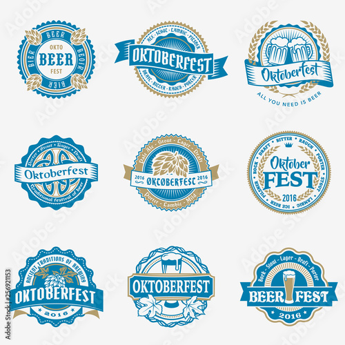 Oktoberfest vector blue logo beer labels set Wall mural