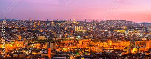 Panoramic Ankara view with Kocatepe Mosque and Atakule Canvas Print
