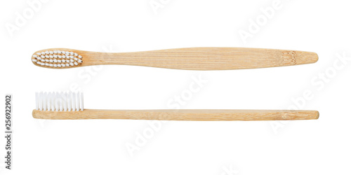 Photo  Bamboo toothbrush isolated on white background