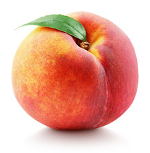 Ripe Whole Peach Fruit With Gr...