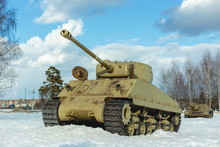 Old Tank On The Snow, Participated In The 2nd World War.