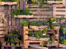 Image Of Wooden Wall With Wood Boxes Full Of Beautiful Colorful Flowers. Decoration