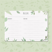 Recipe Card With Green Leaves Frame