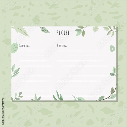 Fototapeta recipe card with green leaves frame obraz
