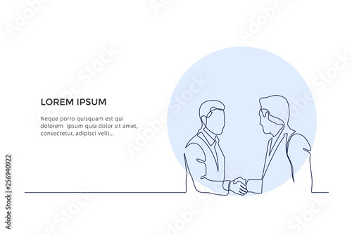 Continuous Line Drawing. Two Business Men Shaking Hands. Drawing by hand on a white background. Design illustration - Vector