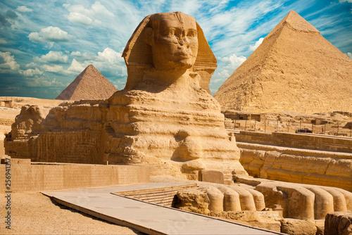 Sphinx and Pyramid In Giza, Cairo