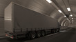 Side and Rear View of a Semi Truck Inside a Tunnel 3D Rendering