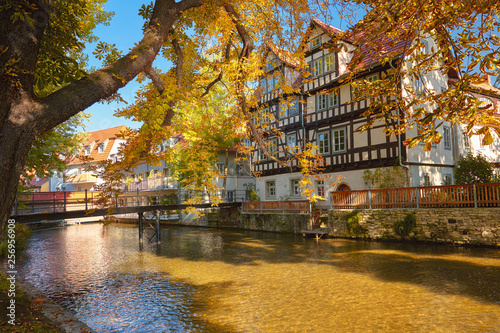 Fototapeten New York Historical timber houses by Gera river in Erfurt, main city of Thuringia