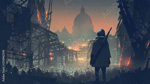 Spoed Foto op Canvas Grandfailure young man with gun looking at crowd of people in apocalyptic city, digital art style, illustration painting