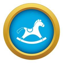 Rocking Horse Icon Blue Vector...