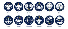 Set Of Zodiac Signs Icons. Ari...