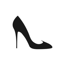 High Heel Shoe Icon. Women's Elegant Shoe On A White Background.