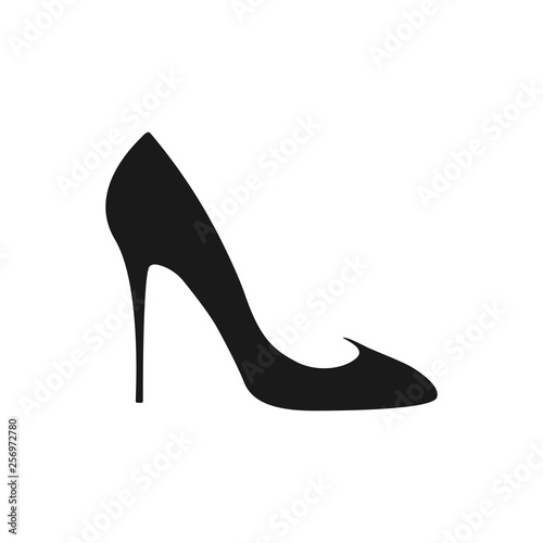 High heel shoe icon. Women's elegant Shoe on a white background. Canvas Print