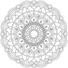 Mandala Intricate Patterns Black And White. Hand Drawn Abstract Background. Decorative Retro Banner Isolated. Invitation, T-shirt Print, Wedding Card, Scrapbooking. Tattoo Element.