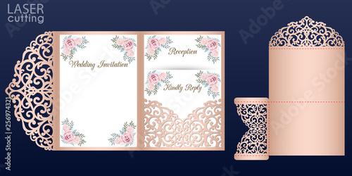 Fototapeta Laser Cut Wedding Invitation Card Vector Template Tri Fold Pocket Envelope Wedding Lace Invitation Mockup With Rose Flowers