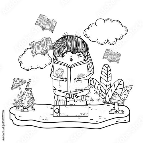 Poster de jardin Oiseaux en cage happy little girl reading books in the field
