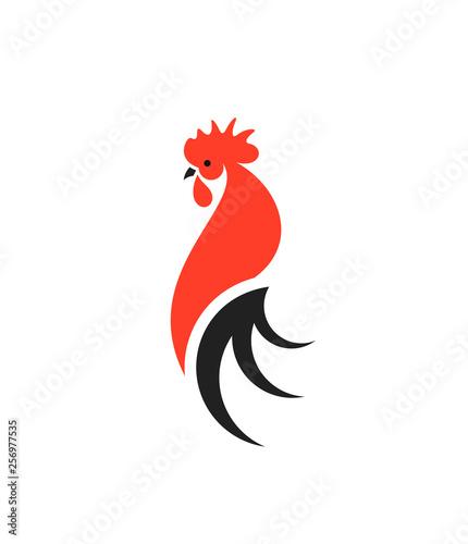 Obraz na plátně Red rooster with black tail