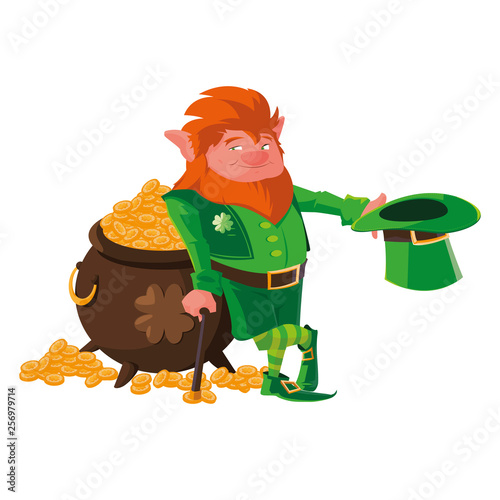 Printed kitchen splashbacks Fairytale World saint patrick lemprechaun with treasure cauldron