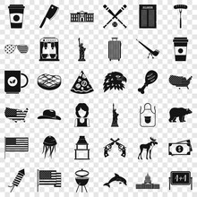 Usa Icons Set. Simple Style Of 36 Usa Vector Icons For Web For Any Design