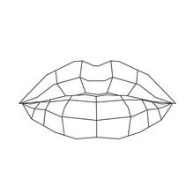 Lips Stylized Triangle Polygon...