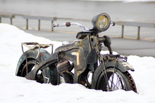 A Motorcycle Covered In Snow, ...