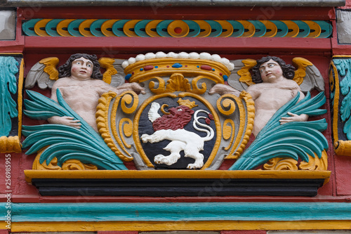Fényképezés  Decoration of half-timbered facade in the old town of Limburg, Germany