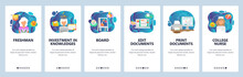 Mobile App Onboarding Screens. College Freshman Student, Print Docuement, Clinic Doctor. Menu Vector Banner Template For Website And Mobile Development. Web Site Design Flat Illustration