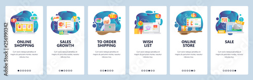 Fototapeta Mobile app onboarding screens. Online shopping, financial chart, wish list, online store, order payment and delivery. Vector banner template for website mobile development. Web site flat illustration obraz na płótnie