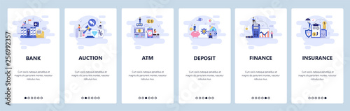 Fototapeta Mobile app onboarding screens. Banking and financial services, auction, atm, deposit saving account, insurance. Vector banner template for website and mobile development. Web site flat illustration obraz