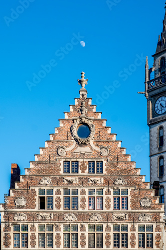 Typical facades of guild buildings located in the center of Ghent in Belgian Fla Wallpaper Mural