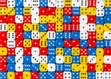 Pattern Of Random Ordered Red, White, Yellow And Blue Dices
