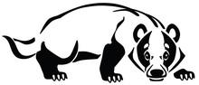 European Badger Logo, Emblem, Tattoo . Black And White Vector Illustration