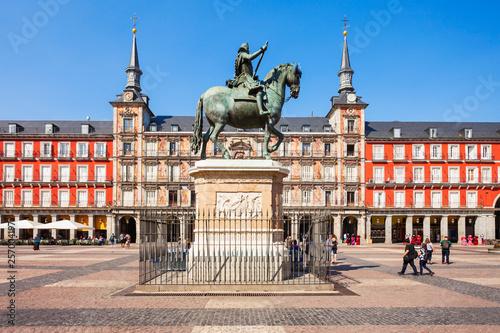 Plaza Mayor is a central plaza in Madrid, Spain Billede på lærred