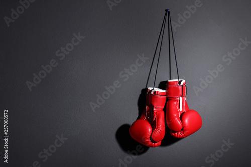 Pair of boxing gloves on grey background, space for text Tapéta, Fotótapéta