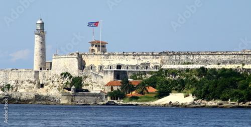 fortaleza de san carlos de la cabana with cuban flag and lighthouse in Havana Cu Wallpaper Mural
