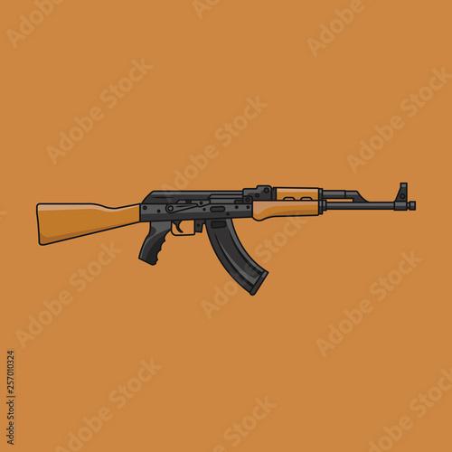AK-47 WEAPON FLAT DESIGN ILLUSTRATION Canvas Print