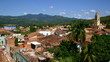 rooftop view in village in Cuba with blue sky