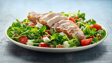 Fresh Grilled Chicken Salad With Tomatoes, Feta Cheese