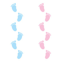 Girl And Baby Boy Footprint Vector