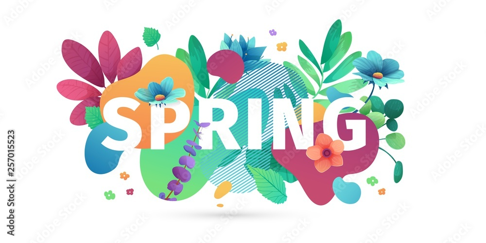 Fototapeta Template design banner for spring season sale. Promotion offer layout with plants, leaves and floral decoration.  Abstract shape with flowers frame. Vector