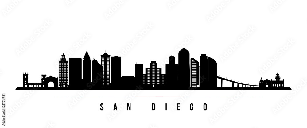 Fototapety, obrazy: San Diego city skyline horizontal banner. Black and white silhouette of San Diego city, USA. Vector template for your design.