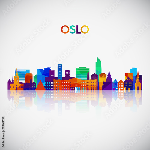 Oslo skyline silhouette in colorful geometric style Canvas Print