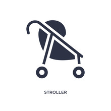 Stroller Icon On White Background. Simple Element Illustration From Kid And Baby Concept.