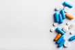 Leinwandbild Motiv Assorted pharmaceutical medicine pills, tablets and capsules.Pills background.